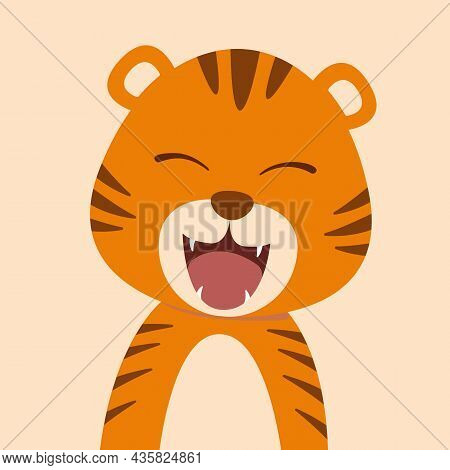 Cute Cartoon Baby Tiger With Open Mouth Roaring.