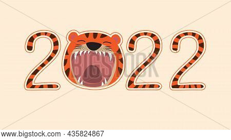 Head Roaring Tiger With 2022 Numbers. Vector Illustration