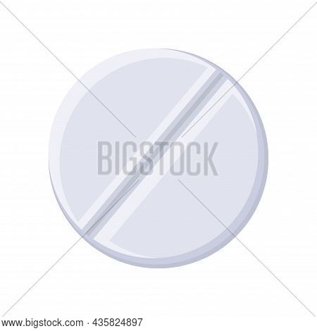 Medical Pill Icon. Tablets Isolated Illustration. Medical Pill Flat Icon On White Background. Medica