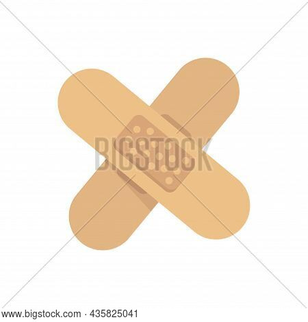 Wound Patch Isolated Illustration. Wound Patch Flat Icon On White Background. Wound Patch Clipart.
