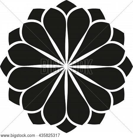 Flower, Black Outline Isolated On White Background, Radial Design Element, Flat Illustration