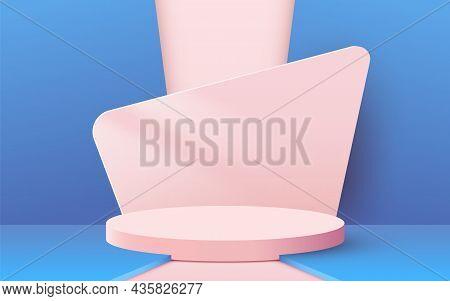 Abstract Scene Background. Cylinder Podium On Pink Background. Product Presentation, Mock Up, Show C