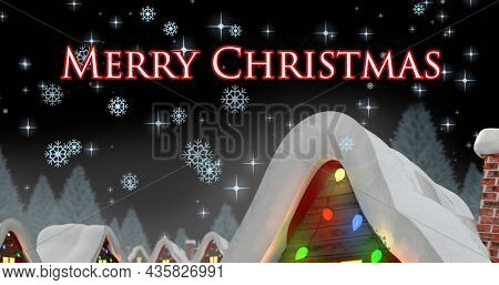 Image of merry christmas text over snow falling and winter landscape. christmas, tradition and celebration concept digitally generated image.
