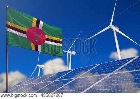 Dominica Renewable Energy, Wind And Solar Energy Concept With Wind Turbines And Solar Panels - Alter