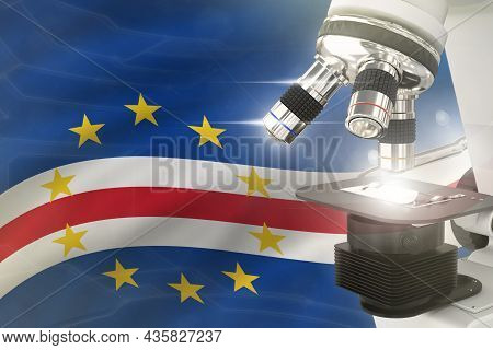 Microscope On Cabo Verde Flag Background - Science Development Concept. Research In Pharmaceutical I