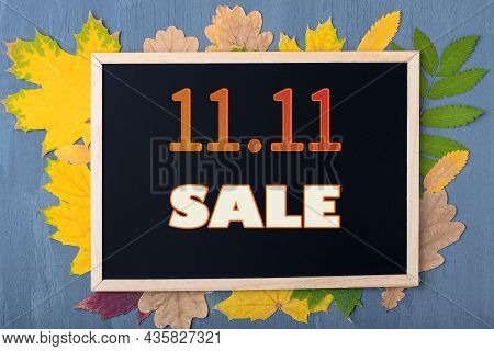Autumn Sale Concept. Black Friday Concept. Date 11 November. Black Frame With The Inscription 11.11
