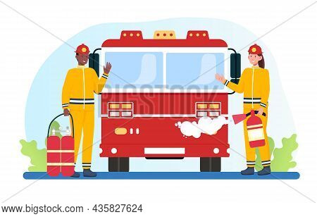Firefighters With Fire Truck Concept. Man And Woman With Fire Extinguishers. Characters Extinguish F