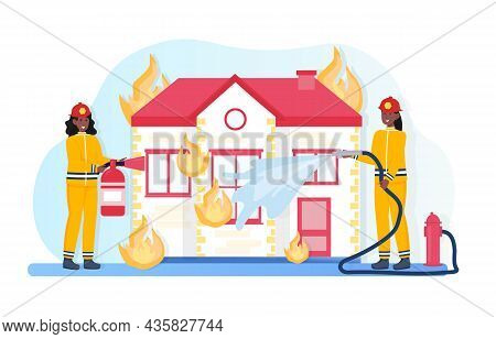 Firefighter Characters Concept. Women In Protective Suits Extinguish Fire In House With Water And Fo
