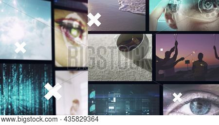 Image of white crosses over multiple screens of technology, business and leisure image clips. business, leisure, communication and technology interface concept, digital composite image.