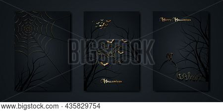 Halloween Party, Set Gold Cards Spooky Dark Background, Silhouettes Of Characters And Scary Bats Wit