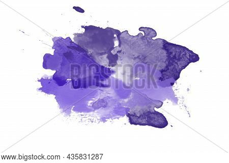 Purple Abstract Watercolor Paint Brush, Stain Texture. Background. Copy Space.