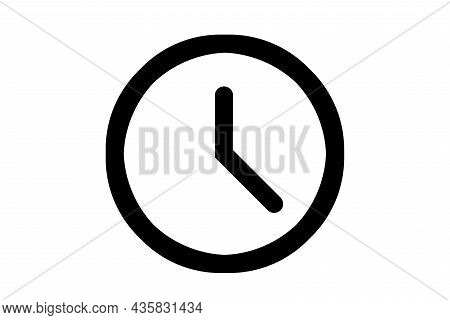 Clock Icon, 5 O'clock, On A White Background.