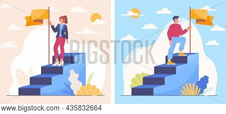 Career Ladder Set. Man And Woman Putting Flag At Top. Career Growth Concept, Success, Achievement, B