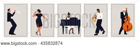 Set Of Jazz Posters. Collection Of Pictures With Musicians. Pianist, Singer, Double Bass, Violin, Dr