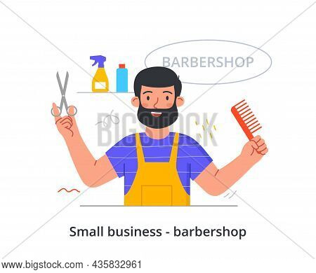 Small Business Barbershop. Hairdresser Stands With Comb And Scissors. Head And Beard Trimming, Luxur