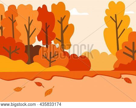 Autumn Landscape With Trees, Sky And Fallen Leaves. Autumn, Landscape For Postcards. Vector Illustra