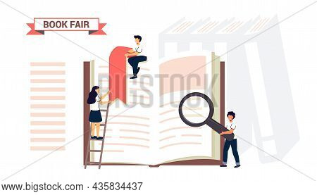Book Fair Or Book Festival Students Woman And Man Reading, Learning And Sitting On Big Books Bookcas