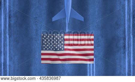 Commercial Airplane Landing At The Airport Of United States. Aerial View Of A Landing Airplane On Th