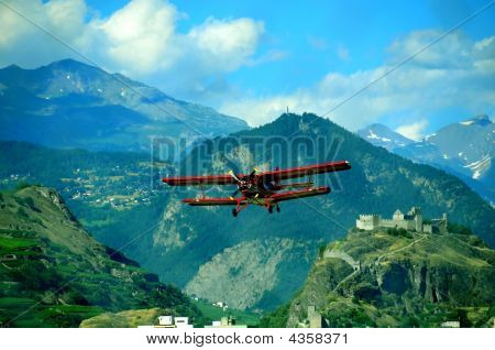 Biplane And Medievel Castle