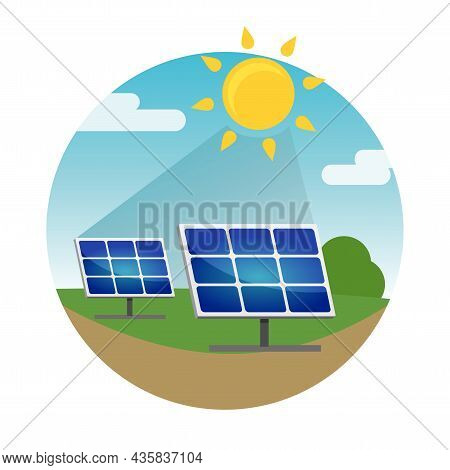 Clean Alternative Energy From Renewable Solar And Wind Sources. Solar Panels.