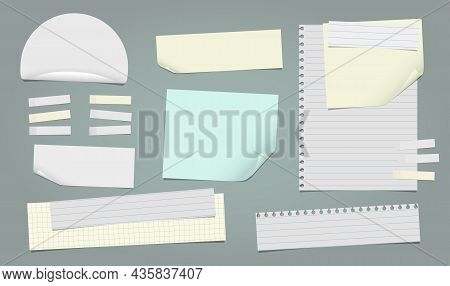 Set Of Torn Yellow, White Note, Notebook Paper Pieces With Sticky Tape Stuck On Dark Green Backgroun