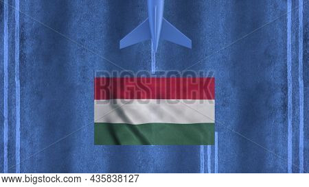 Commercial Airplane Landing At The Airport Of Hungary. Aerial View Of A Landing Airplane On The Airf