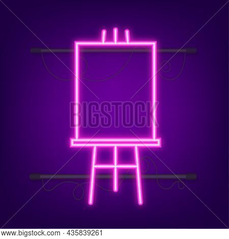 Easels With Mock Up Empty Blank Square. Neon Icon. Vector Illustration