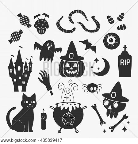 Set Of Icons Stickers For Halloween. Characters Jack Lamp, Skull, Witch's Cauldron, Black Cat, Eyes,