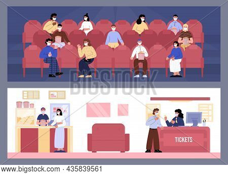 People Watching Movie At The Cinema Wearing Face Mask. People Buy Tickets At The Counter, Buy Popcor