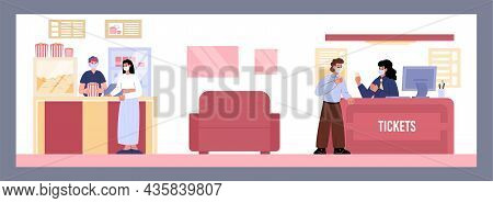 Woman Buying Popcorn At The Snack Bar At Cinema Hall Entrance. Man Buys Cinema Tickets At The Box Of