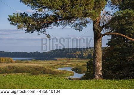 Rural Landscape With Views Of The River And Fields. Pushkin Hills With Savkina Gorka. Russia Pskov R