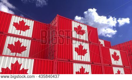 Canada Flag Containers Are Located At The Container Terminal. Canada Export Or Import Concept, 3d Re