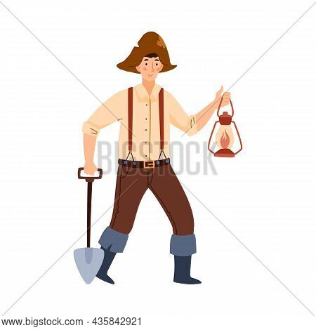 Gold Digger Or Miner Male Cartoon Character, Flat Vector Illustration Isolated.