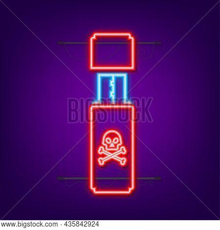 Computer Virus On Usb Flash Card. Virus Protection. Neon Icon. Vector Stock Illustration