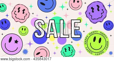 Cool Abstract Collage Of Sale Banner With Hipster Stickers In Acid Design. Retro Pop Psychedelic Bac