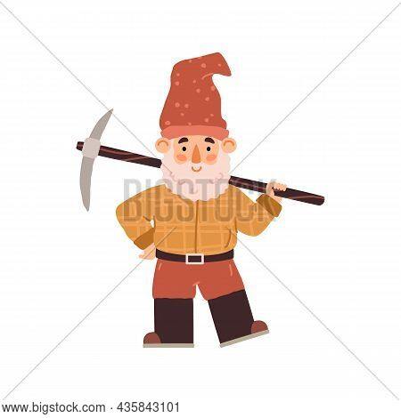 Cartoon Garden Gnome With Pick And Beard In Hat And Boots - Flat Vector Illustration Isolated On Whi