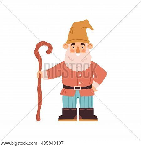 Cute Garden Gnome In Hat With Beard And Crook Handle Cane Or Walking Stick - Flat Vector Illustratio