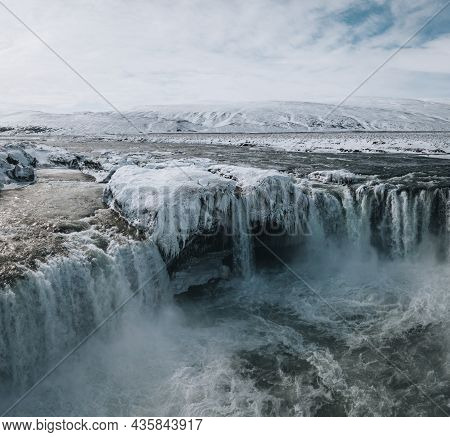 Beautiful Godafoss Waterdall Cascade In Iceland In Winter And Early Spring. Close To Reykjavik.