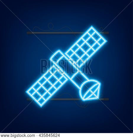 The Satellite. Artificial Satellites Orbiting The Planet Earth Gps. Neon Icon. Vector Illustration