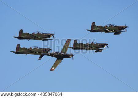Cerklje, Slovenia - June 3, 2018: Military Trainer Plane At Air Base. Air Force Flight Operation. Av