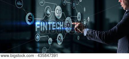 Fintech Investment Financial Technology Concept. 3d Virtual Screen