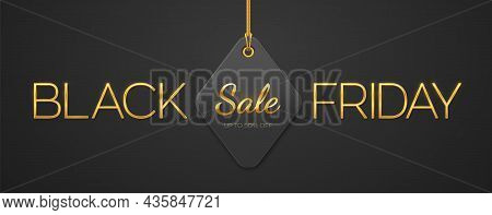 Black Friday Sale. Golden Metallic Luxury Letters Black Friday And Price Tag Coupon Hanging On Gold