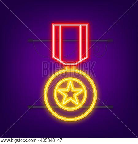 Hero Of The Soviet Union Gold Star Award. Neon Icon. Motion Graphics