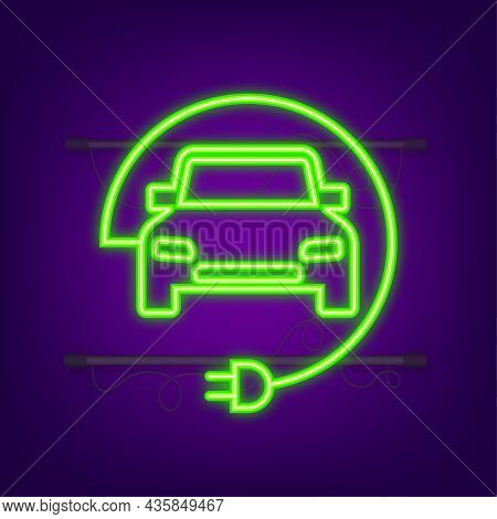 Electric Vehicle Charging Station Icon. Ev Charge. Electric Car. Neon Icon. Vector Illustration