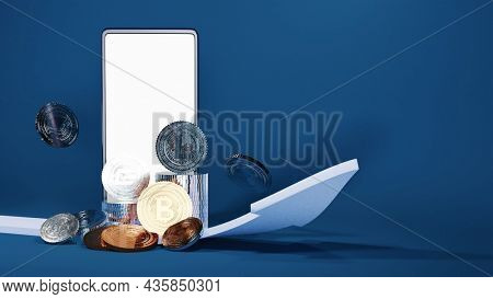 3D Rendering Smartphone With Silver, Bronze Crypto Coins And Growing Arrow On Blue Background.