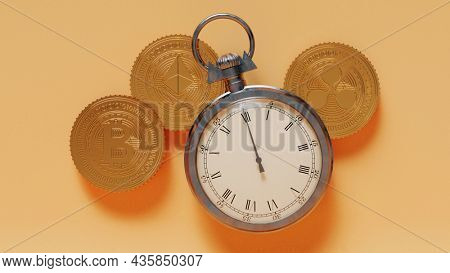 3D Rendering Stopwatch And Golden Crypto Coins On Yellow Background.