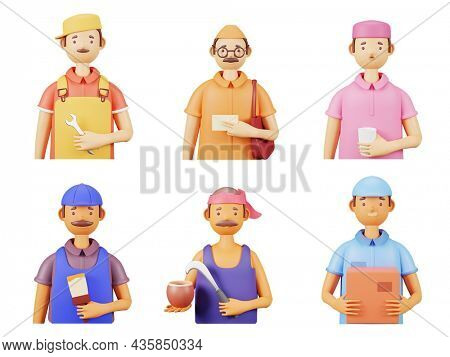 3D Rendering Of Essential Workers As Mechanic, Postman, Painter, Ward Boy, Coconut And Juice Seller On White Background.