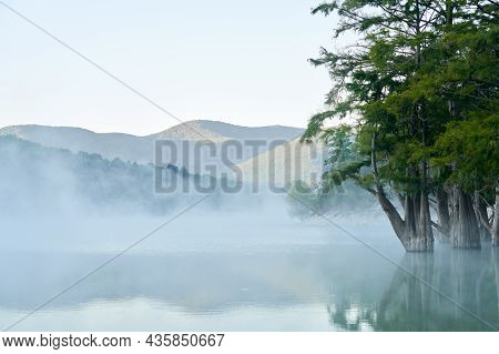 Swamp Cypresses In The Lake Against The Background Of Mountains At Sunrise. The Surface Of The Reser