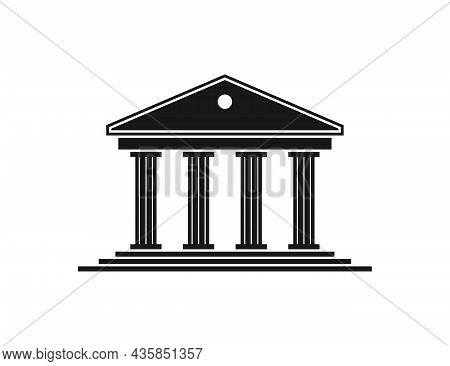 Government Icon. Building Of Court. Black House With Pillar In Roman Style. Architecture For Greek M