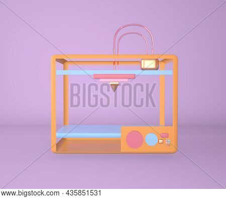 Multicolored 3d Printer Printering 3d Render, 3d Illustration